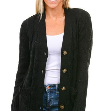 Black Cable Knit Button Down Cardigan