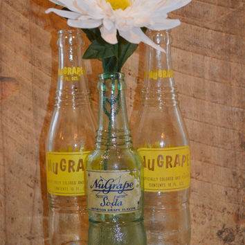 Vintage Nugrape Bottles Set of Three , Antique Nugrape Bottles , Glass Soda Bottles , Table Decor, Wedding Decor , Vintage Glass Bottles