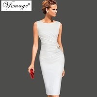 Vfemage Womens Celebrity Elegant Vintage Ruched Pinup Wear To Work Office Business Casual Party Fitted Bodycon Pencil Dress 6136