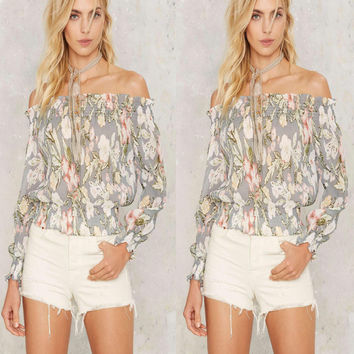 Grey Floral Print Off the Shoulder Long Sleeve Blouse
