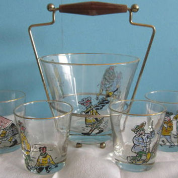 Curling Ice Bucket and glass set  Barware 5 Glasses curling Vintage Gift for the avid curler