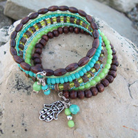 Lime and Coconut Beaded Bangle Layer Memory Wire Wrap - Beaded Bracelet with  Hamsa Hand Charm