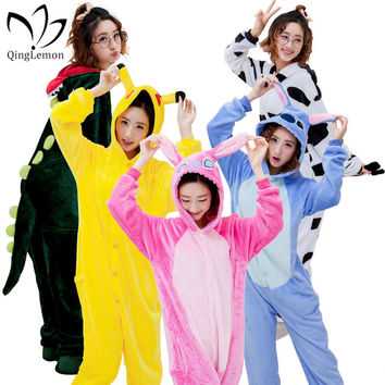 Unisex Unicorn Stitch Pikachu Adult Pajamas Sets Winter Hooded Onesuits Sleepwear Cosplay Animal Kigurumis For Women Men Child