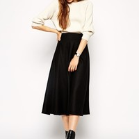 ASOS Midi Circle Skirt in Brushed Wool Mix
