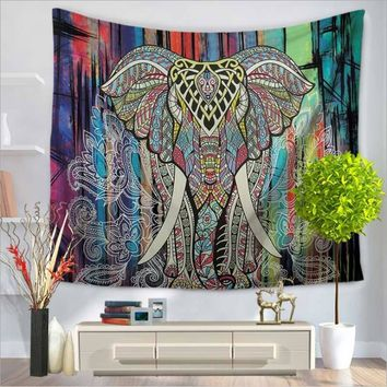 Painted Elephant Tapestry Home Decor Wall Hanging Colorful Fabric Throw Door Curtain Bedspread home decoration accessories