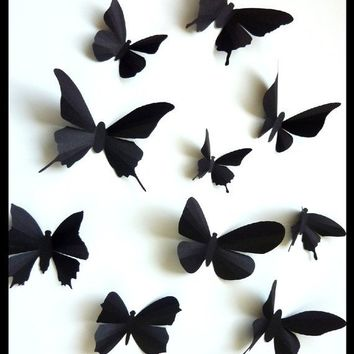 3D Wall Butterflies - 30 Assorted Black Butterfly Silhouettes, Nursery, Home Decor