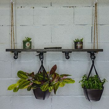PORTLAND INDUSTRIAL CHIC HANGING SHELF PLANTER