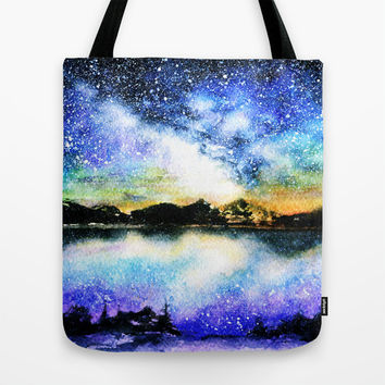 Starry night over the lake Tote Bag by Miss L In Art