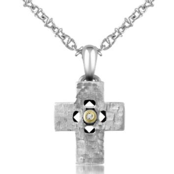 Forzieri Designer Men's Necklaces Diamond and Hammered Stainless Steel Cross Pendant Necklace