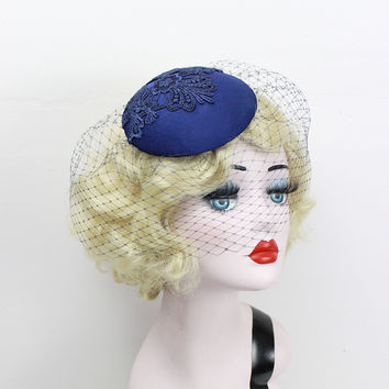Navy Blue Birdcage Veil, Cocktail Hat, Silk Fascinator, Lace, Bridal Hat, Wedding Veil, Mother of the Bride, Blusher Veil