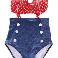 Cocoship Retro High Waist Pin up Bikini Sets Polka Top+denim Bottom Swimsuits