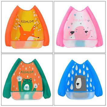 4 Types Baby Cartoon animals pattern Waterproof Stain Resistant Cape Bib Children Drawing Smock for girl and boy baby care
