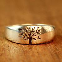 Tree of Life Wedding ring in sterling silver. Men's wedding band. Women's wedding band. Alternative Wedding Ring.