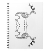 Spooky vintage skeleton reindeer drawing spiral notebook