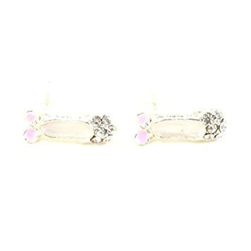 Pink Ballet Slippers Stud Earrings Silver Tone Crystal Ballerina Posts EH01 Fashion Jewelry