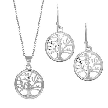 Sterling Silver Rhodium Plated Tree Of Life 18 Inch Necklace And Earrings Set