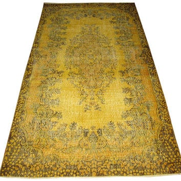 Sale Yellow Color Overdyed Handmade Rug  with Medallion Design 9'3'' x 5'2'' feet
