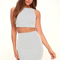 Jolee Black and White Grid Print Pencil Skirt