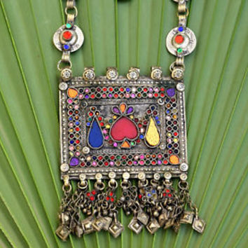 Big Vintage Afghan Kuchi Pendant Necklace Ethnic Tribal Chain Jewelry Boho Dance