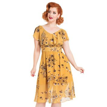 Posy Yellow Butterfly Dress