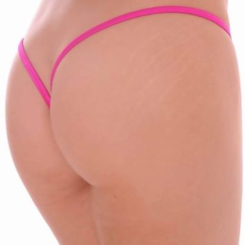Magenta Lined V Back Thong