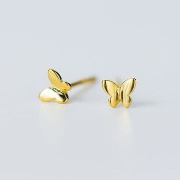 925 sterling silver gold-plated tiny butterfly earrings  E6015