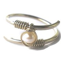 Fresh Water Pearl Wrapped 925 Sterling Silver Wire Twisted Ring Size 6
