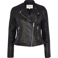 River Island Womens Black leather zip detail biker jacket