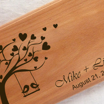 Tree Birds Wedding Cutting Board, Love Birds, Personalized Chopping Block, Gift for Couples, Newlyweds, Birthday Gift,handmade Engraved Wood
