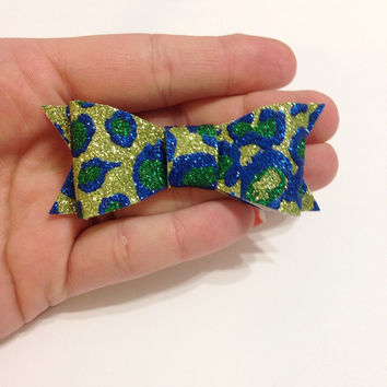 Green and Blue Leopard Print Canvas Hair Bow on Alligator Clip - 3 Inches Wide - Affordable and High Quality Hair Bows