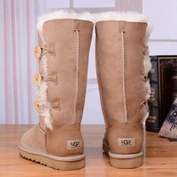 UGG Women Fashion Button Flats Leather Boots In Tube Boots Shoes