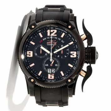 Invicta 12436 Men's Russian Diver Chronograph Black IP Steel Black Dial Rubber Strap Watch