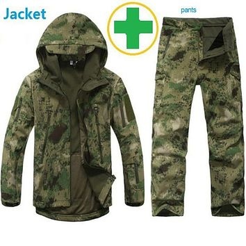 Shark skin soft shell lurkers tad v4,0 v outdoors tactical military jacket+ uniform pants suits hunting  Army clothes