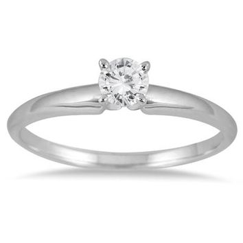 1/10 Carat Round Diamond Solitaire Ring in 14K White Gold (Premium Qua