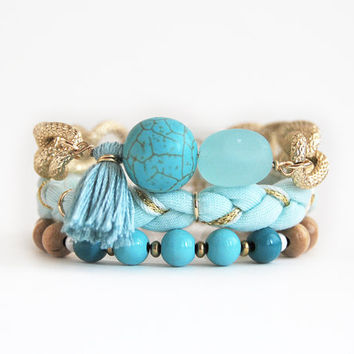 Turquoise beaded bracelet stack, bohemian set of bracelets with chunky chain, arm candy with tassel and sea glass