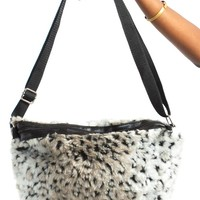 Vintage Y2K Faux Fur Snow Leopard Bag