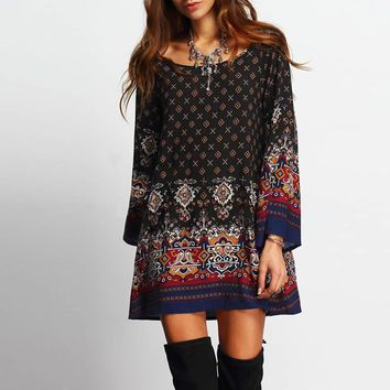 Pretty Bell Sleeved Boho Print Dress 4 Colors