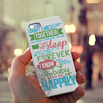 One Direction 1D Happily Lyrics Case for Iphone 4, 4s, Iphone 5, 5s, Iphone 5c, Samsung Galaxy S3, S4, S5, Galaxy Note 2, Note 3.