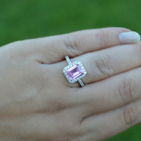 Size 7 Halo Pink Sterling Silver CZ Ring - Emerald Cut Halo Pink Ring - Pink Cocktail Ring - Pink Ring - Halo Pink Ring - 925 Halo Pink Ring
