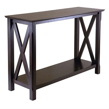 Cappuccino Brown Wood Console Sofa Table with Bottom Shelf