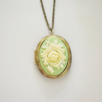 Ivory Green Rose Cameo Necklace,Rose Locket,Rose Cameo Jewelry,Antique Brass Necklace,Bridesmaid locket Gift,Oval Locket, Leaf Locket