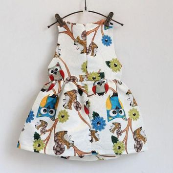 Trendy Baby Girls Sleeveless Owl Print Tutu Dress One Piece Party Cocktail Dresses