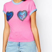 The Ragged Priest | The Ragged Priest Fitted Retro Ringer T-Shirt with Mermaid Heart Patches at ASOS