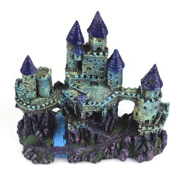 24cm Aquarium Artificial Castle Decoration Fish Tank Ancient Castle Tower Ornament Aquarium Rock Cave For Fish Shrimp Hiding