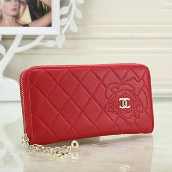 CHANEL Trending Women Stylish Pure Color Leather Metal Zipper Wallet Purse Red I-OM-NBPF