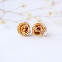 Champagne stud earrings, rose stud earrings, Beige studs, nude studs, beige floral earrings, brown stud earrings, polymer clay stud