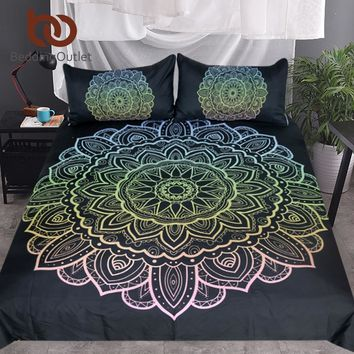 BeddingOutlet Mandala Bedding Set King Bohemian Duvet Cover With Pillowcases Colorful Flower Bedclothes Lotus 3-Piece Bedspreads