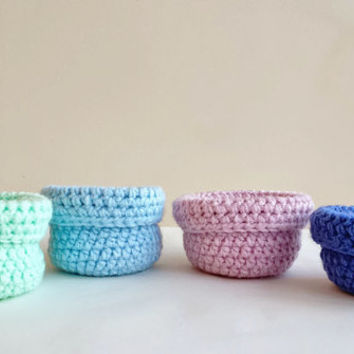 On SALE Set of 4 Handmade Crochet Baskets Pastel - Baby blue, Sky Blue, Mint green and Pale Pink Small Storage Organiser Home Decor Bathroom