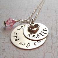 You Are My Sunshine with Birthstone - Hand Stamped Name Necklace -Sterling Silver V2