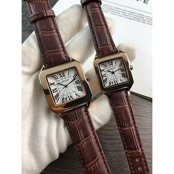 DCCK C050 Cartier Simple Leisure Fashion Automatic Leather Watchand Lovers Watches Maroon